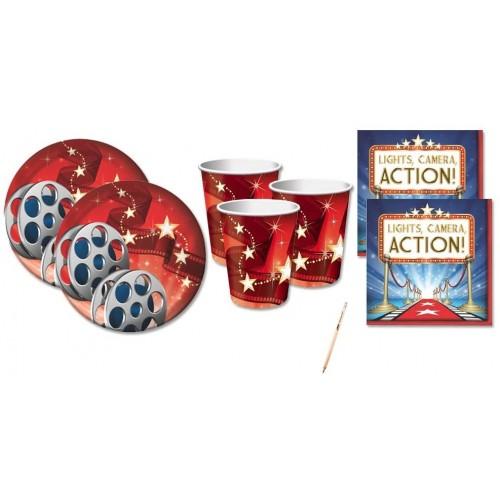 Kit per 16 invitati tema Cinema Hollywood, accessori e decorazioni