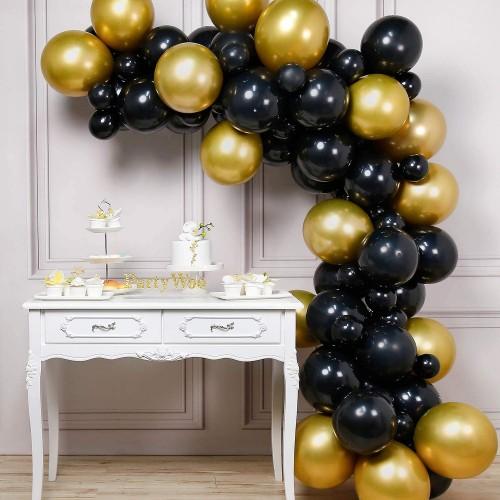 Arco di palloncini oro e neri, 60 pezzi, in lattice, per allestimenti