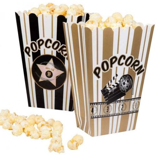 Set da 4 scatole per Popcorn Hollywood, Bianco/Nero/Oro