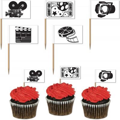Set da 50 mini bandiere Cinema Hollywood, accessori per feste