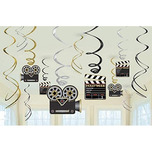 Set festoni a spirale tema Hollywood, accessori per feste a tema