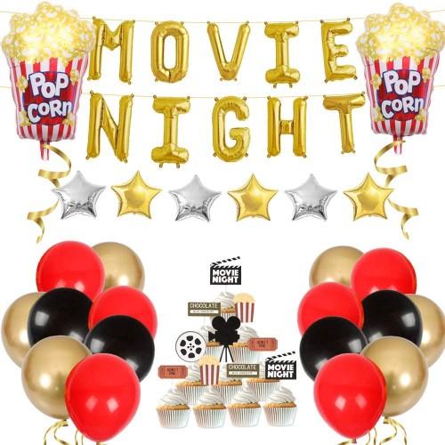 Set decorazioni con palloncini Movie Night, per feste a tema