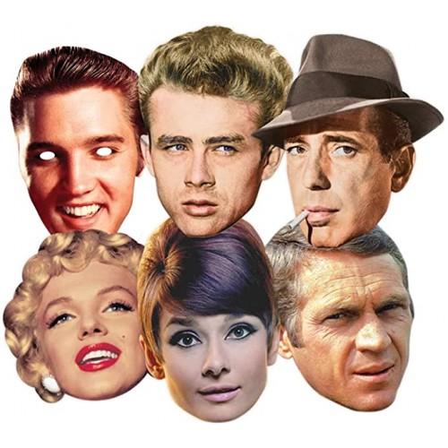 Set 6 maschere personaggi di Hollywood, in cartoncino, per feste a tema