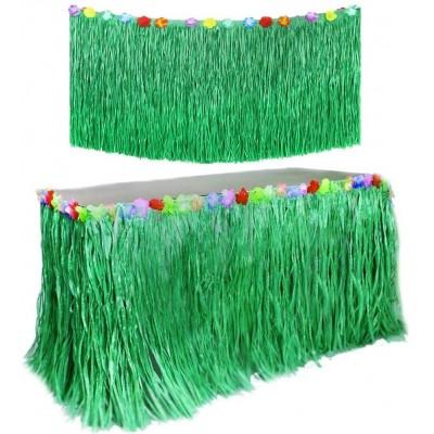 Gonna Hawaiana da Tavolo colore verde, con fiori, in PVC