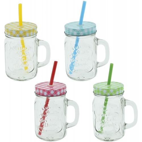 Set di 4 bicchieri con cannucce Hawaii da 400 ml, in vetro