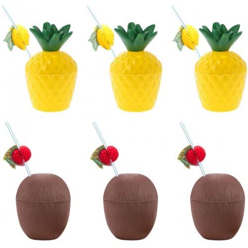 Set di 6 bicchieri forma cocco e ananas, con 6 cannucce incluse