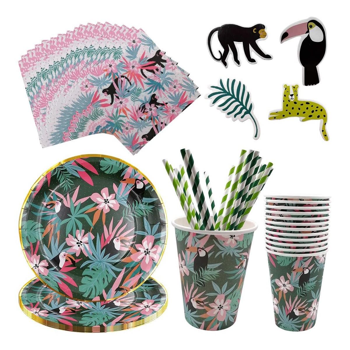 Kit per 12 persone tema Hawaiana / Fenicotteri, accessori per feste