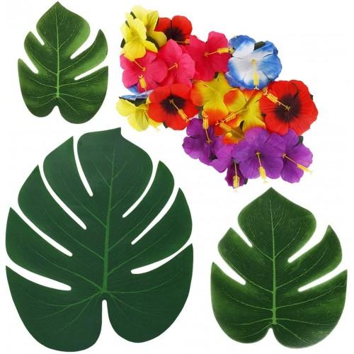 Set da 72 Fiori artificiali Hawaiani, con foglie tropicali