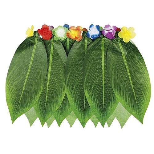Gonna Hawaii colore verde, taglia unica, con foglie di palma