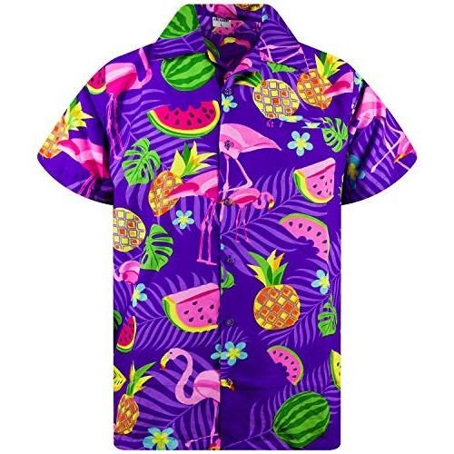 Camicia Hawaiana da uomo, Flamingo Melone viola, maniche corte