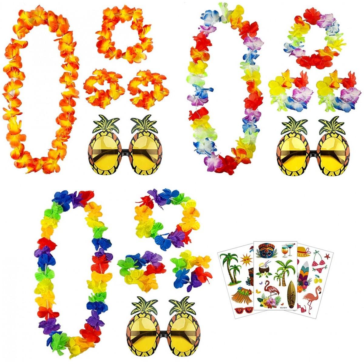 Set 10 accessori festa Hawaiana, con occhiali e ghirlande di fiori
