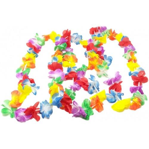 Set da 24 collane Hawaiane con doppio petalo, accessorio per feste