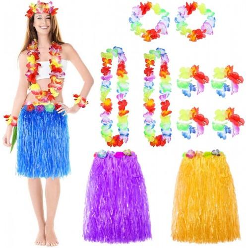 Set 3 costumi Hawaiani, con gonne, collane e bracciali
