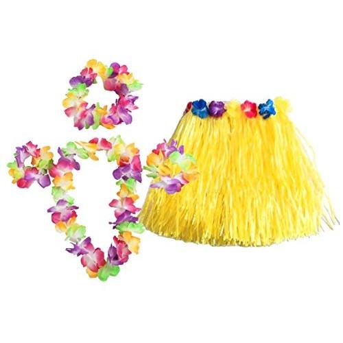 Set costume motivo Hawaiano con gonna Hula e collana fiori