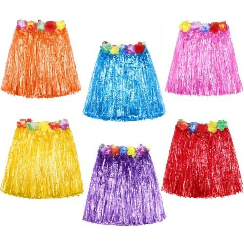Set da 6 gonne stile Hawaiano, elastiche, colore assortite