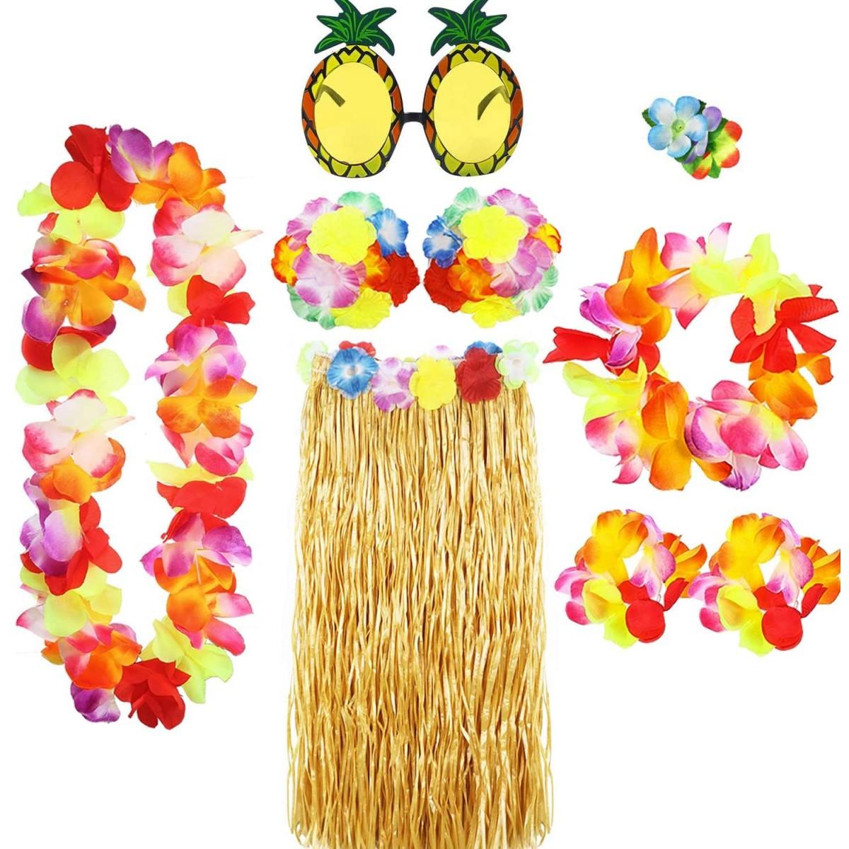 Costume Hawaiano con 8 Pezzi , tema tropicale