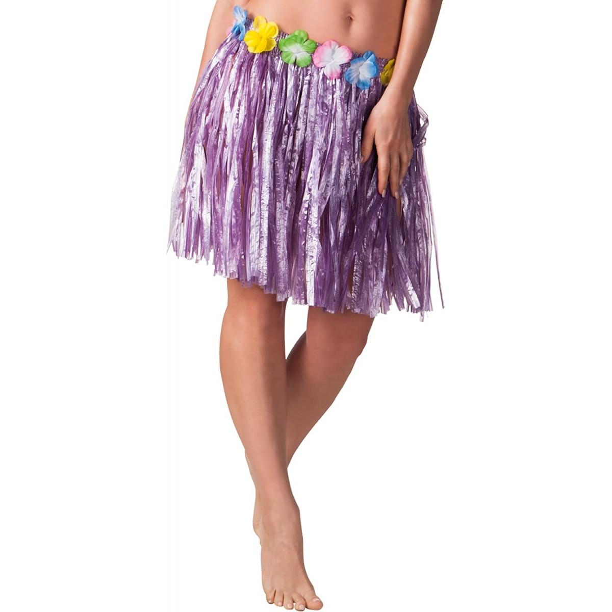 Gonna Hawaiana viola, da 45 cm, elasticizzata