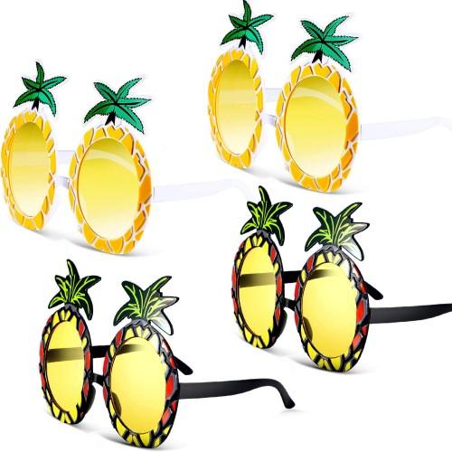 Set da 4  Occhiali Hawiani forma Ananas, perfetti per feste