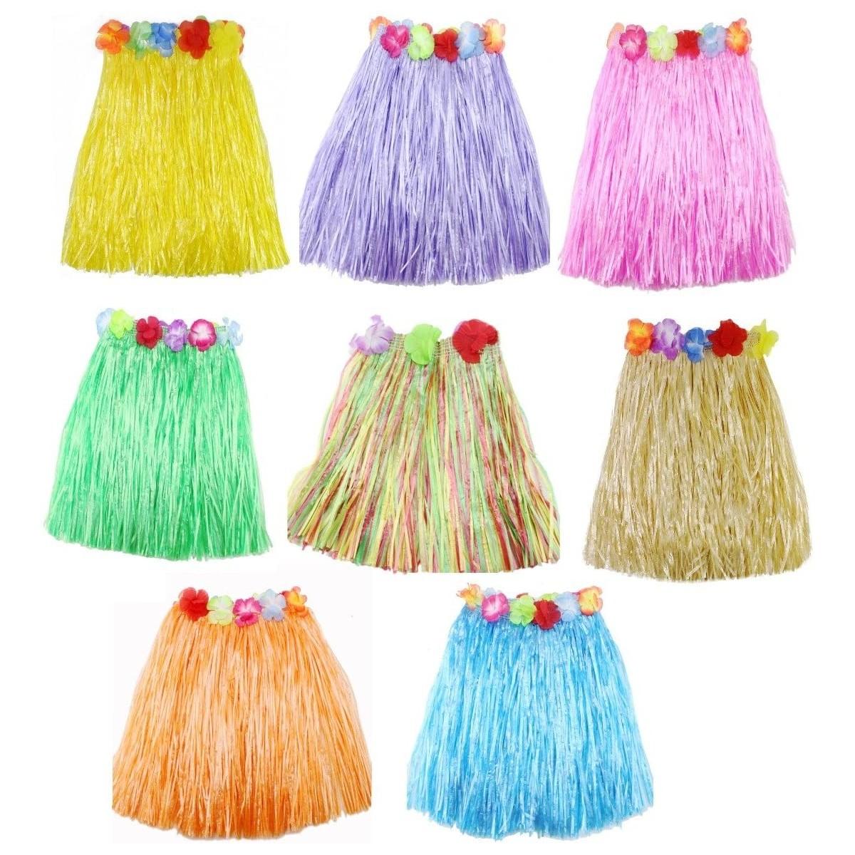 Set da 8 Gonne stile Hawaiana Hula, colori assortiti, elasticizzate