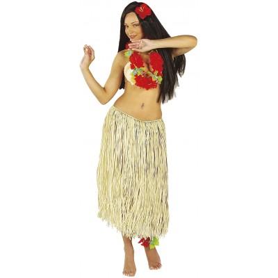 Gonna Hawaiana in rafia color paglia, taglia unica, per feste