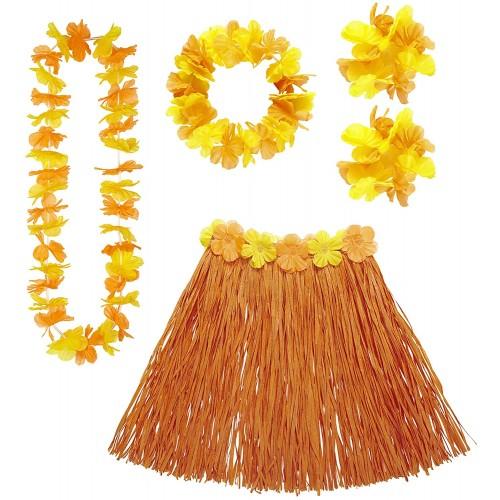 Costume Hawaiano Arancione, completo, con fiori finti