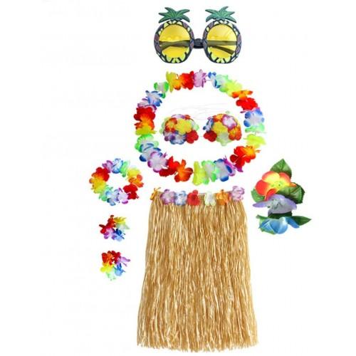 Set Costume Hawaiano elasticizzato, in fibra e seta