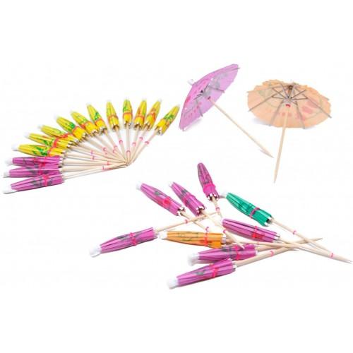 Set da 50 ombrelli da cocktail Hawaiani, motivi floreali