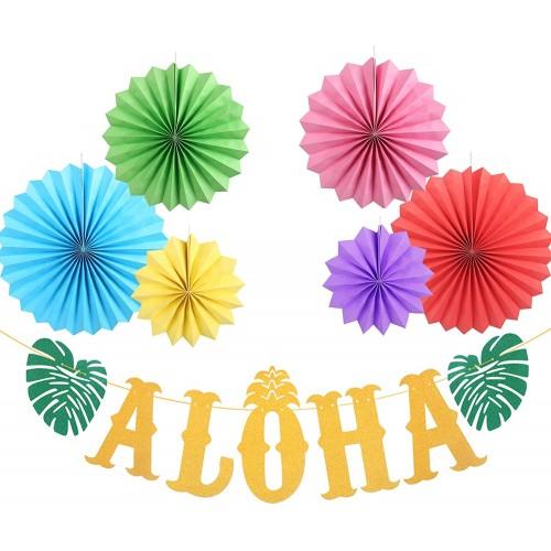 Festone Aloha e ventagli a nido d'ape, decorazioni festa Hawaiana
