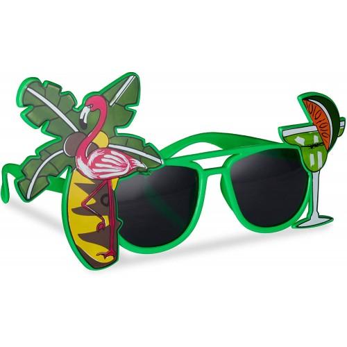 Simpatici Occhiali da sole per festa stile Hawaiani, con palme e fenicottero
