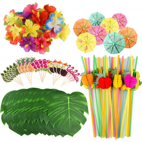Set da 184 decorazioni per feste hawaiane, cannucce, cake topper, foglie artificiali