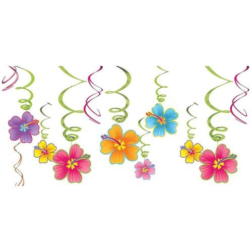 Festone con spirali di fiori hawaiana, decorazione per feste