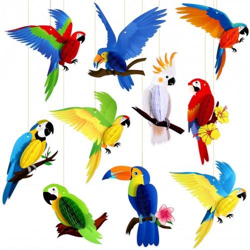 Set 10 uccelli tropicali in cartoncino, accessori decorativi