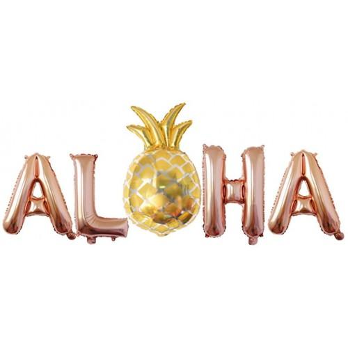 Palloncini scritta Aloha rosa gold per feste Hawaiane