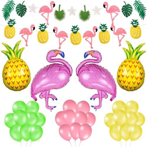 Set 35 decorazioni per festa Tropicale, palloncini e ghirlande