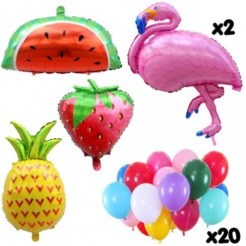 Set 25 foil, palloncini frutta e fenicotteri, per festa Hawaiana