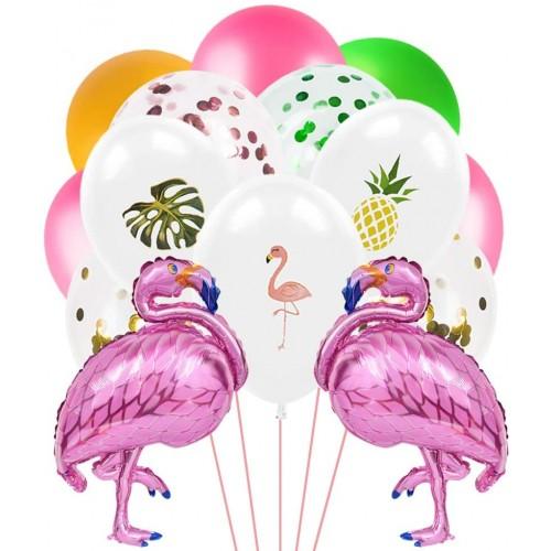 Set da 40 palloncini con stampa Fenicotteri Hawaiani, in lattice, per feste