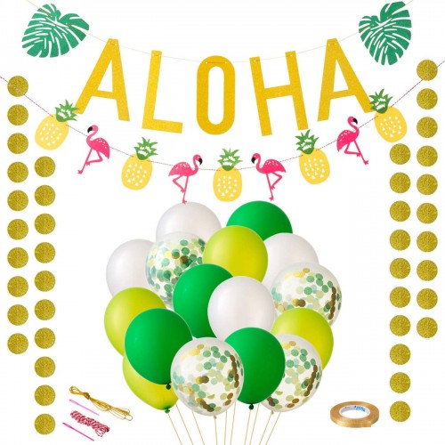 Banner ALOHA per festa Hawaiana, con palloncini