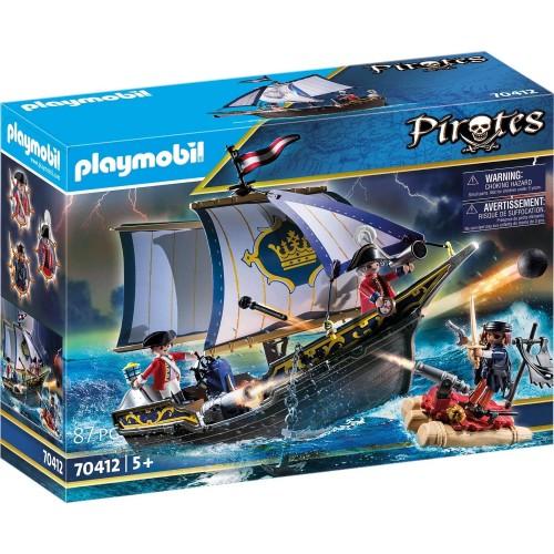 Playmobil - Nave della Marina Reale e zattera dei pirati