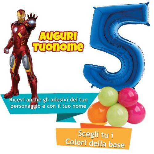 Composizione di palloncini Iron Man con numero foil