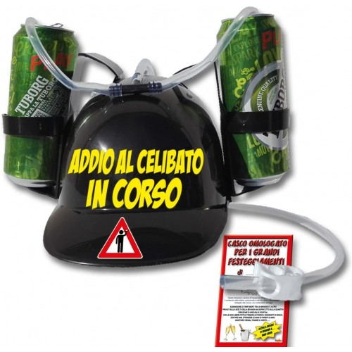 Casco Porta lattine per addio al celibato, idea regalo