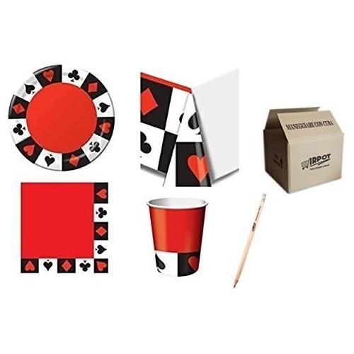 Kit per 40 persone tema Poker, Las Vegas, coordinato tavola