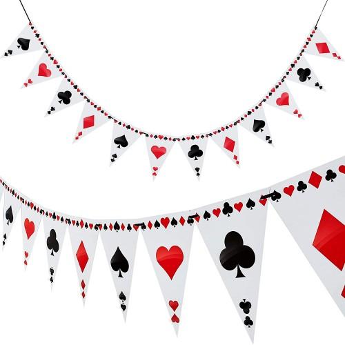 Set 2 festoni tema Poker - bandierine festa Las Vegas