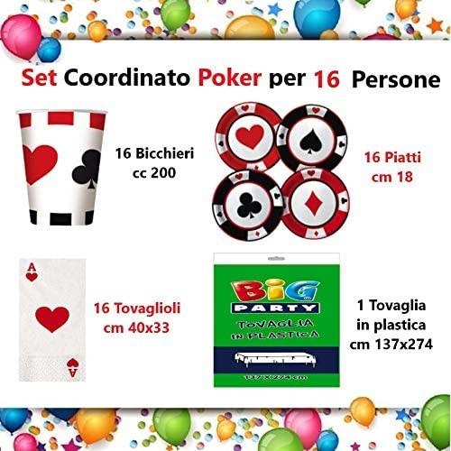 Kit per 16 persone festa Poker, Casinò, Las Vegas