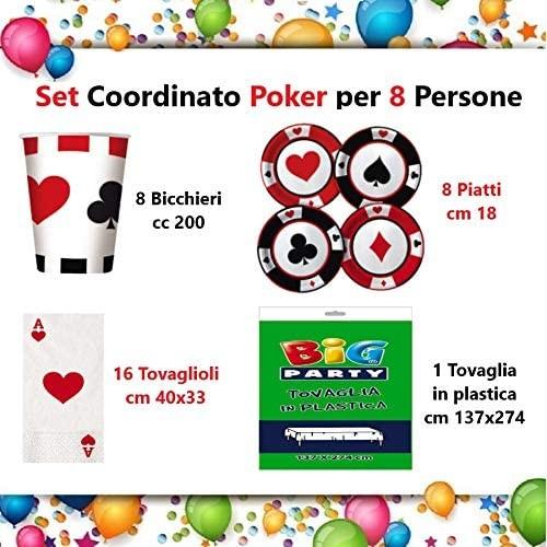 Kit per 8 Persone festa Poker - Las Vegas, coordinato tavola