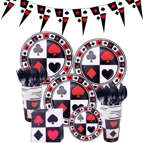 Kit per 16 ospiti tema carte da Poker