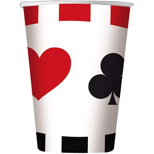 Set da 8 Bicchieri tema Poker da 200 cc, per feste a tema