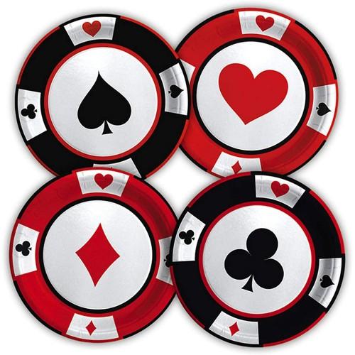 Kit da 8 Piattini dessert tema Poker - Las Vegas, usa e getta