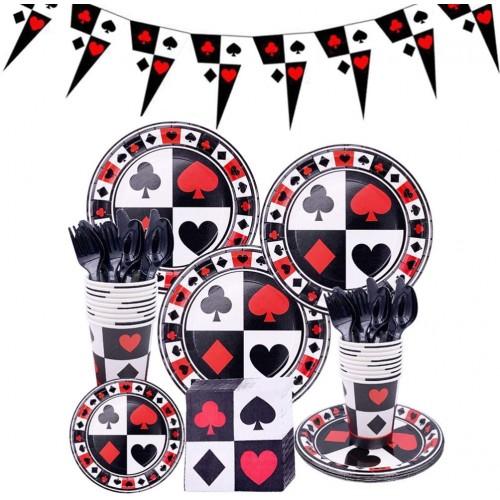 Set da 113 articoli per festa tema Poker, coordinato tavola e accessori