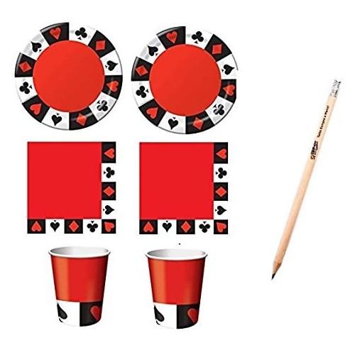 Kit per 16 persone tema feste Poker, Casinò, Las Vegas