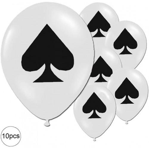 Kit da 1o pollici festa Poker, stampa cuore nero, per feste